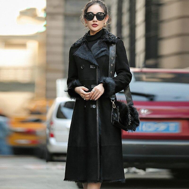 Abrigo de piel auténtica para mujer, ropa de otoño e invierno, chaqueta abrigada de oveja vaporosa para mujer, moda coreana 2020, Abrigos para mujer Pph1692