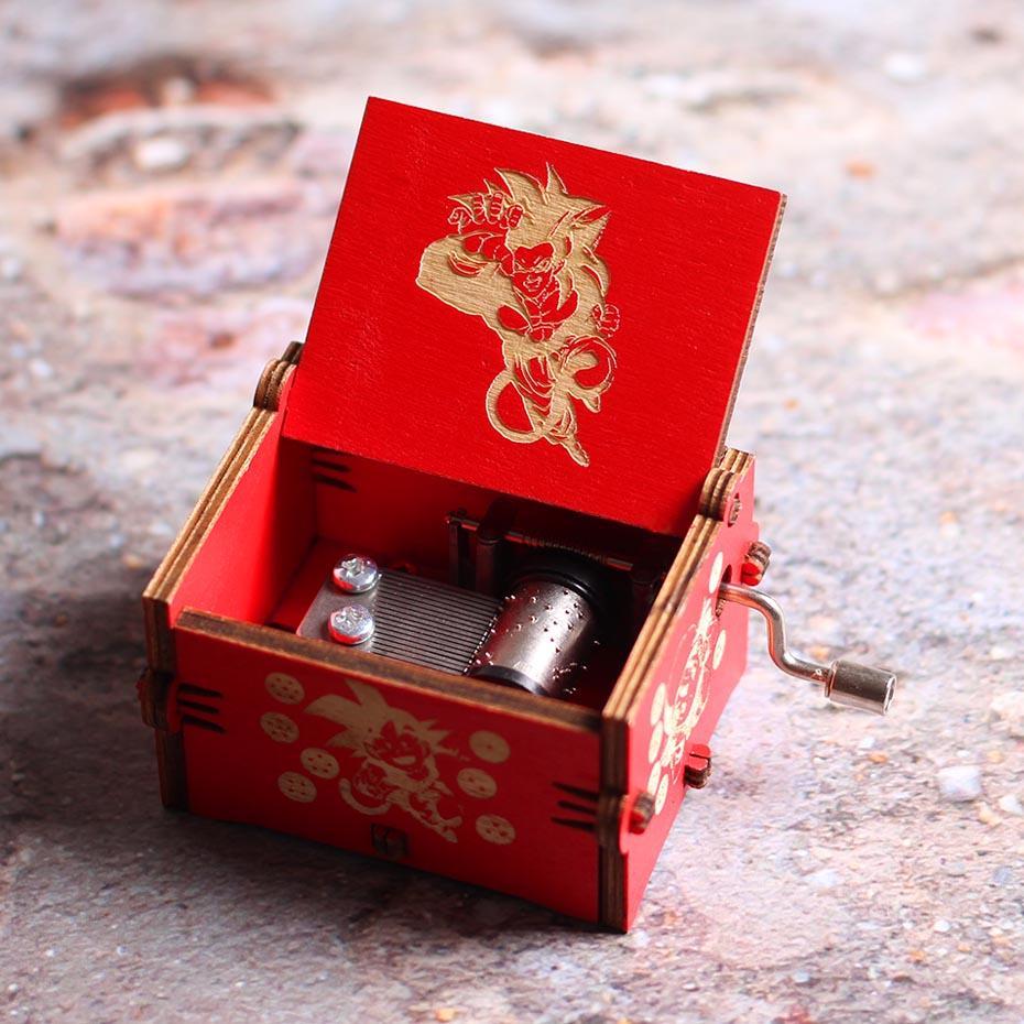 Atacado Manivela Caixa de Música de Madeira Red Dragon Ball Castle In The Sky Star Wars Músicas de Natal Presente de Aniversário