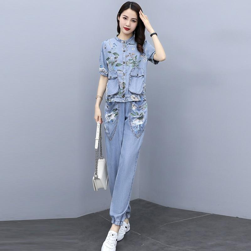 طباعة كاوبوي قطعتين مجموعة كبيرة الحجم 2021 صيف جديد واحدة الصدر قميص دينيم توب + جيب الجينز موضة المرأة بدل رجالي