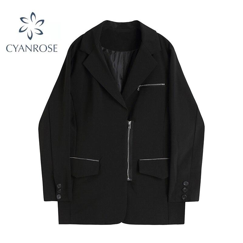 الخريف والشتاء المرأة السترة عادية 2021 موضة الأسود سستة جيب الزخرفية سترة الإناث غير رسمية معطف عالية الشارع المد