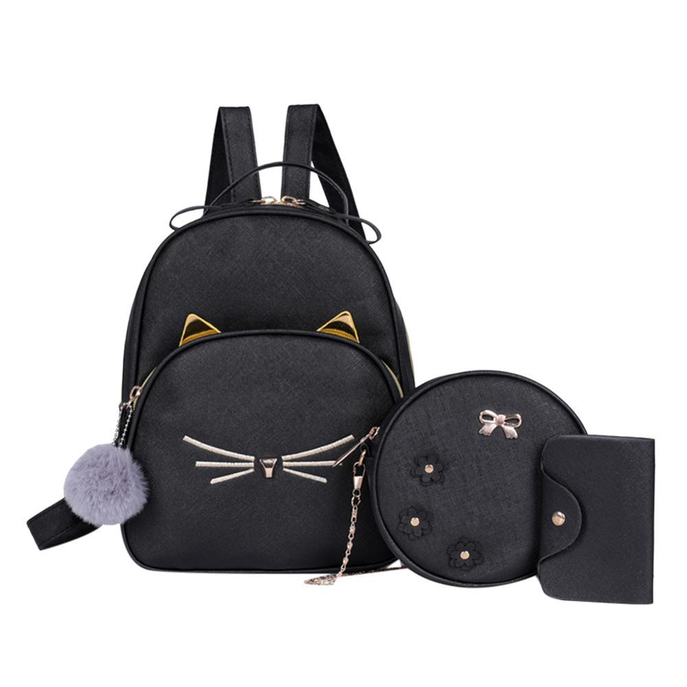 3Pcs/set Women Rucksack Teenagers Travel Backpack PU Leather School Bags for Girls Cartoon Cat Square Satchel Light Shoulder Bag