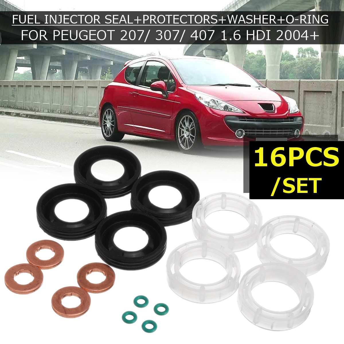 Coche 16 Uds sello inyector de combustible + protectores + lavadora + O-RING para PEUGEOT 207/307/407 1,6 HDI 2004 198299 de coche