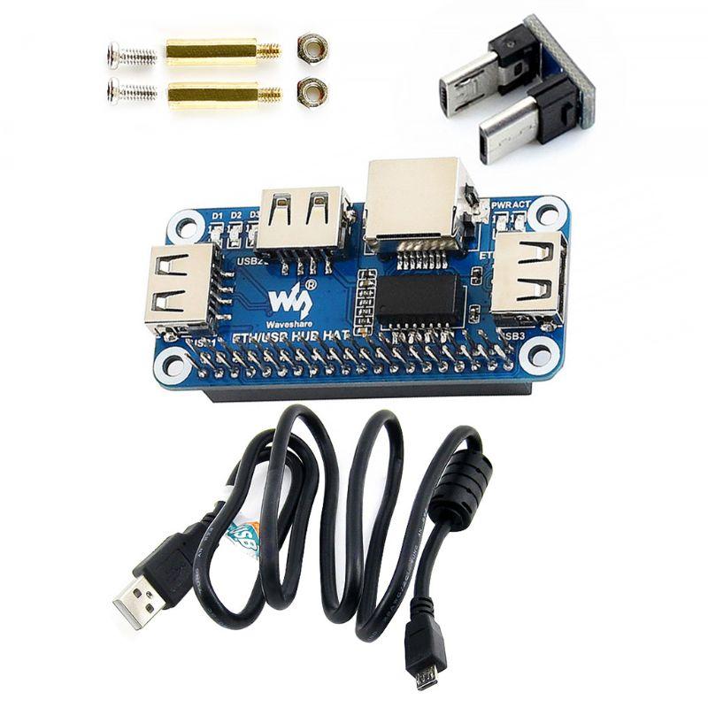 Raspberry Pi 4B/Zero W USB to Ethernet RJ45 Net work Port USB HUB Hub Splitter