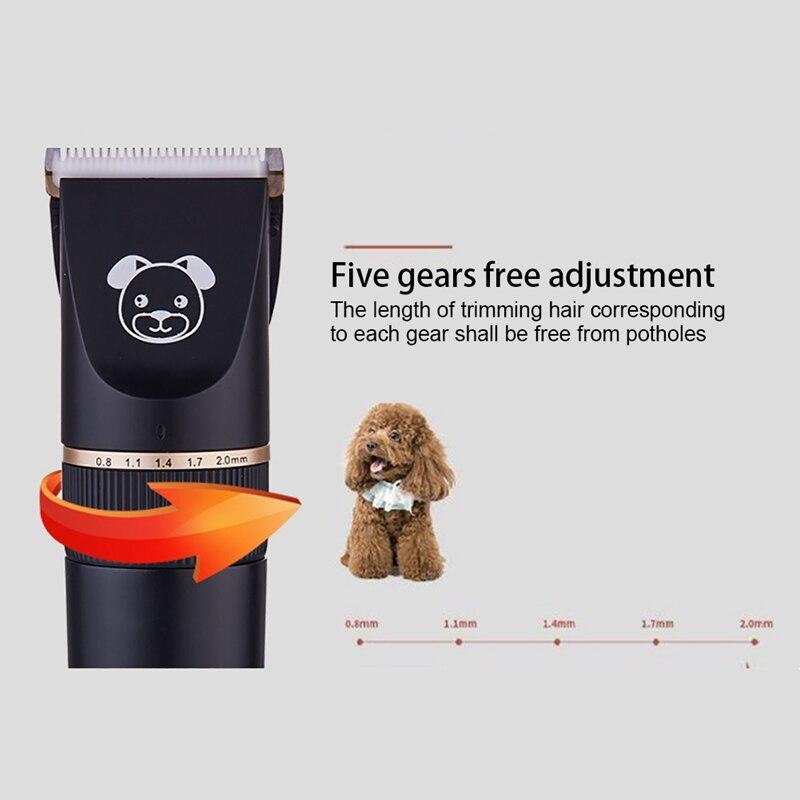 Wusb recarregável de baixo nível de ruído pet aparador de pêlos inteligente pet gato e cachorro elétrico clipper shaver k5 pacote inteligente pet grooming