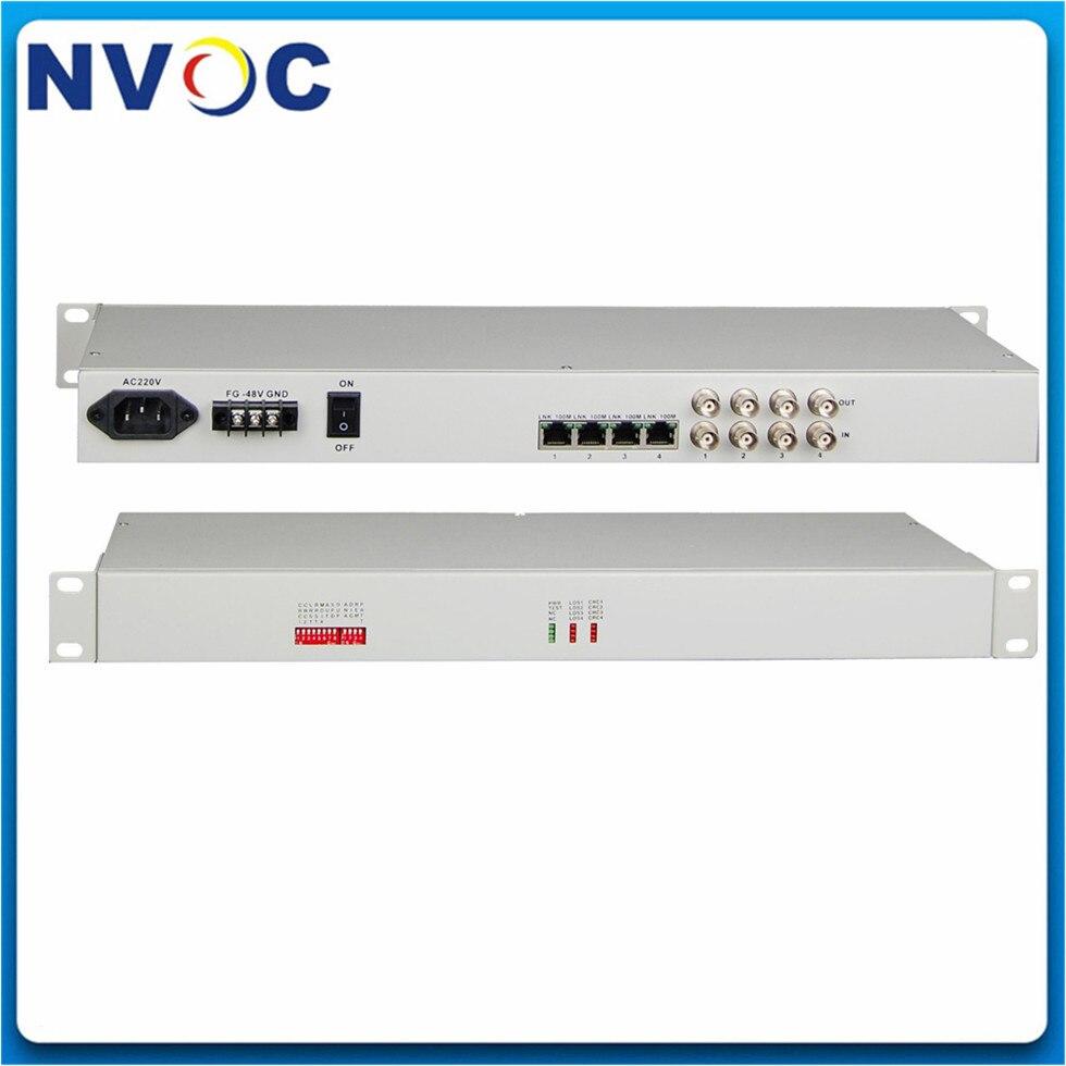 4 * E1 (120ohms o 75 ohms) Interfaz a 1 * FE convertidor de interfaz, 19 pulgadas tipo Rack, 48 V/220 V, 4E1-1FE convertidor de interfaz