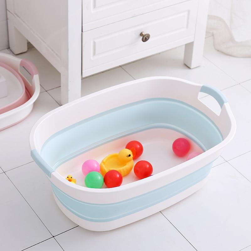 Baby Shower Protable Bath Tub Folding Baby Shower Bathtub Portable Pet Bath Tubs Safety Security Bath Accessories Storage Basket enlarge