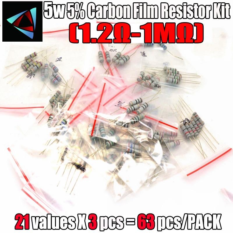 63PCS/LOT 5W resistor package 5% 1.2R-1M 21Values*3=63Pcs Carbon Film Resistor Commonly kits Metal Oxide Film Resistors kit