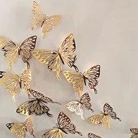 Autocollants muraux papillon 3D ajoures en metal  12 paquets  decoration murale de maison  decoration de salle