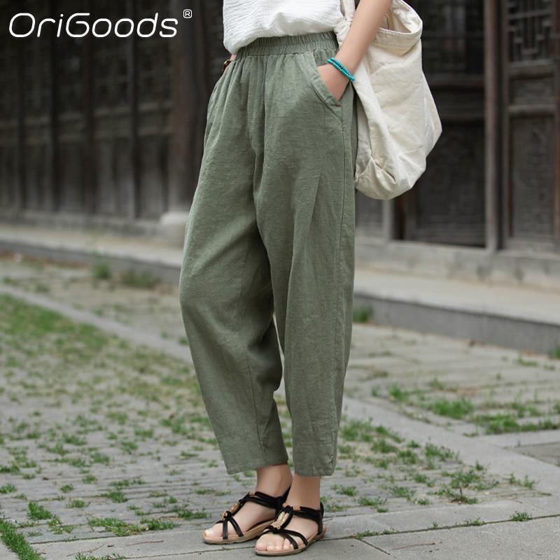 OriGoods Cropped Harem Pants Women Spring Summer 2021 New Linen Pants Loose Casual Vintage Capri Tro