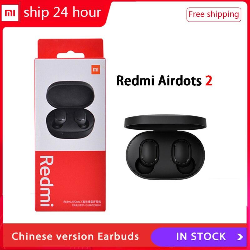 Redução de Ruído com Microfone Verdadeiro sem Fio Original Xiaomi Redmi Airdots 2 Tws Bluetooth 5.0 Controle ia mi Fone Ouvido 2021