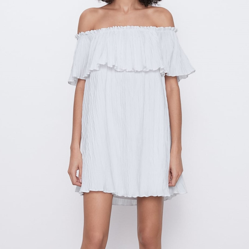 Voluminosa falda vestido ZA 2020 mujeres verano amplio escote forro Interior Mujer volante elegante blanco elegante Mini vestidos de fiesta