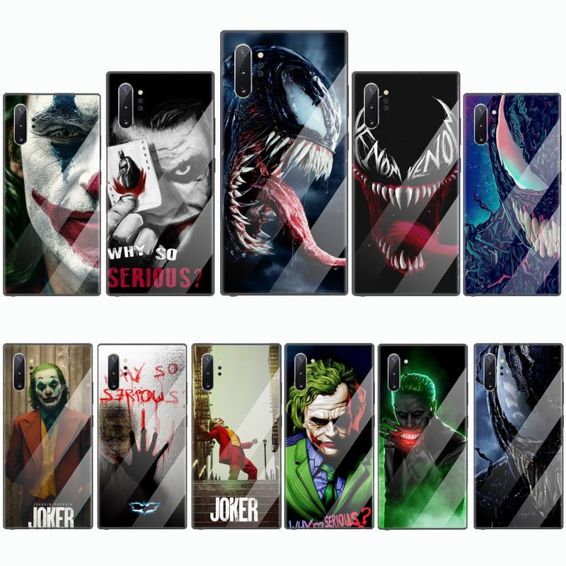 Veneno Joker vengadores bien suave negro teléfono caso de vidrio templado para Samsung S6 S7 borde S8 S9 S10 e plus note8 9 10 pro