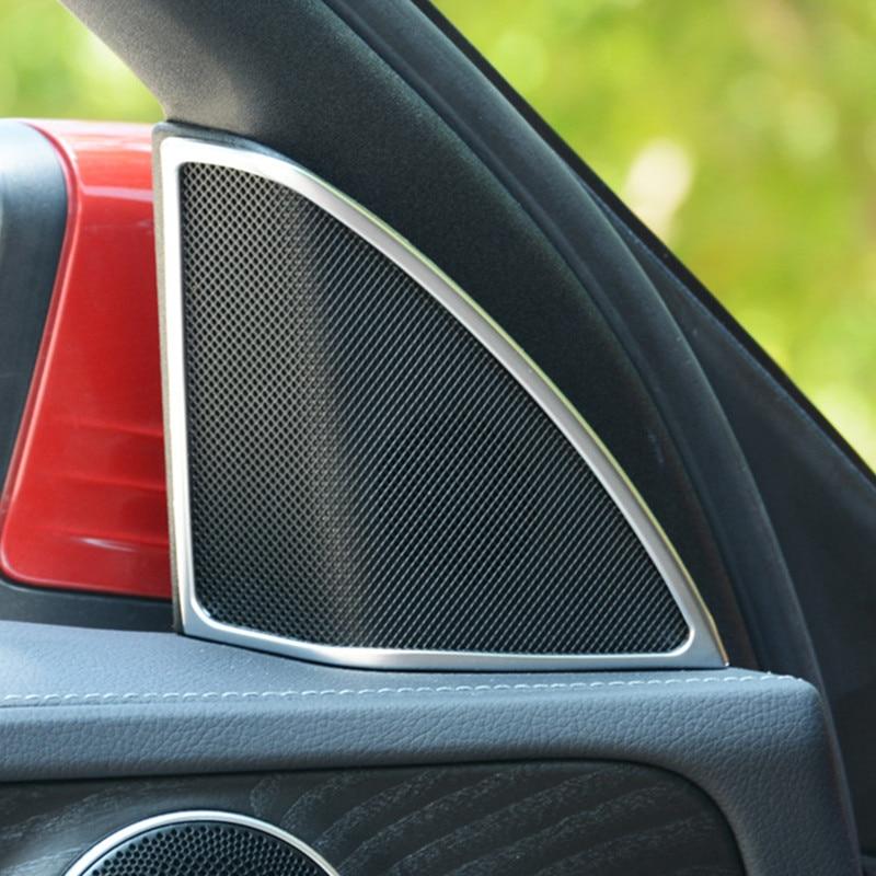 Marco de altavoces de Tweeter para puerta de coche, tapicería decorativa cromada ABS para Mercedes Benz Clase C W205 180 200 300 2015-2018