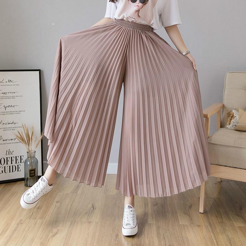 [EWQ 2020 NOVEDAD DE VERANO delgada cintura elástica pliegues de chifón pantalones de pierna ancha de Corea de talla grande-Encuentro de pantalones de las mujeres de Color a 3 6 XL QV357