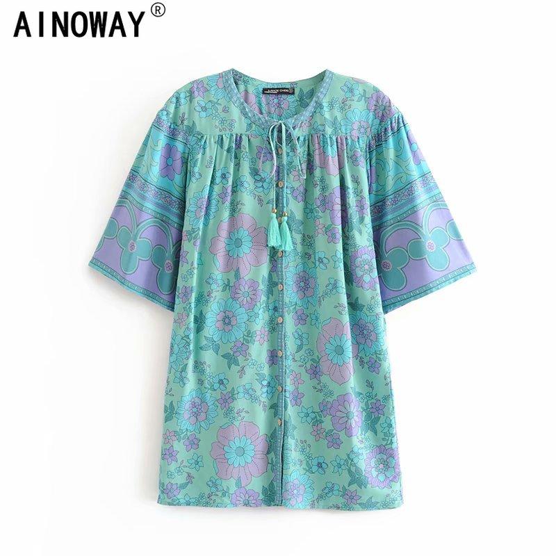 Chic Vintage verde floral impreso borla bohemio blusa camisas damas con cuello en V de manga corta, camisas kimono oversize
