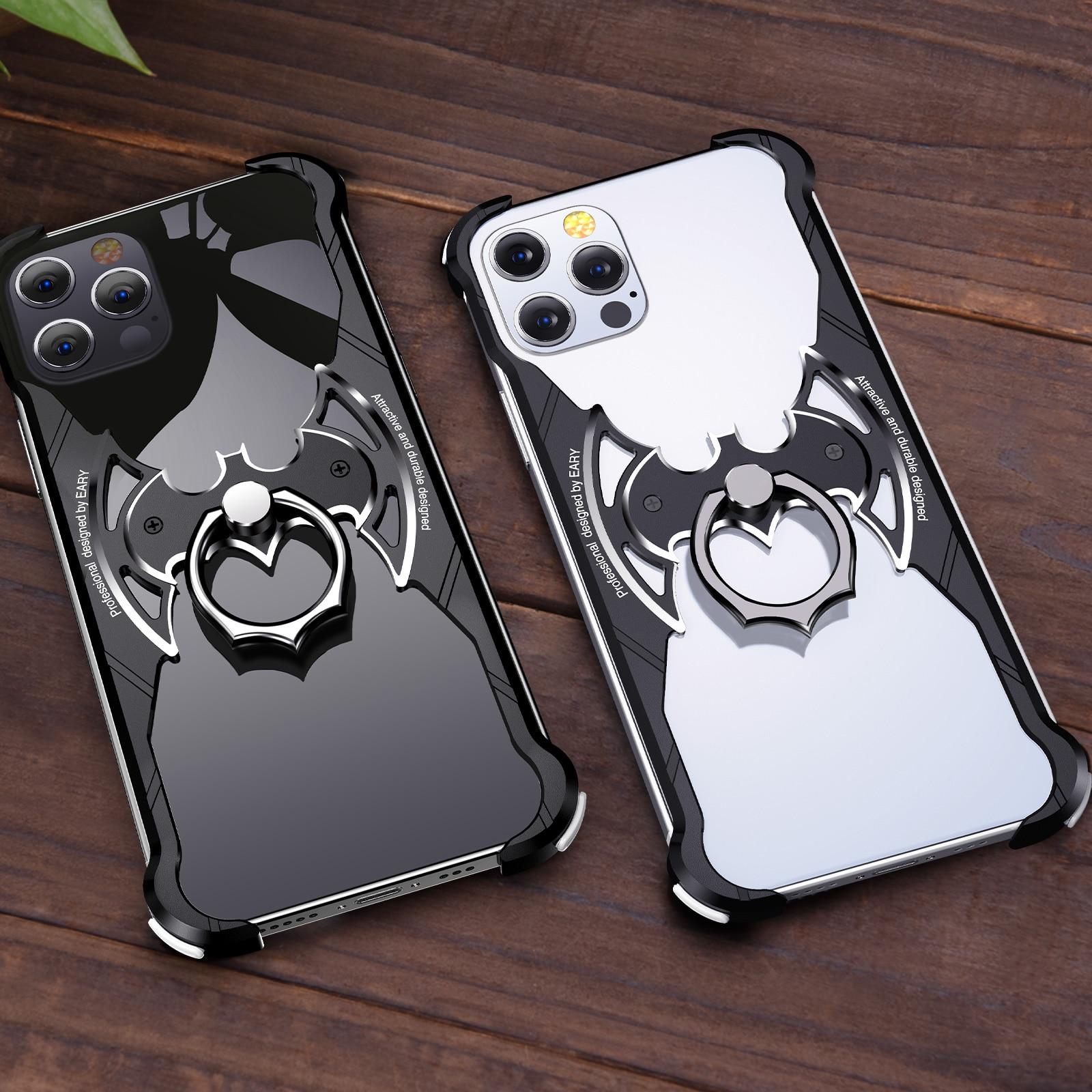 Роскошный металлический чехол OATSBAS в форме летучей мыши для Iphone 12pro max, чехол с полной защитой на 360 градусов, задняя крышка для Iphone 12 pro max