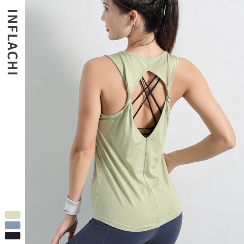 Womenloose Yoga sports running T-Shirt beautiful back sexy vest fitness top