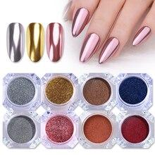1 boîte miroir ongles poudre paillettes poussière métallique coloré paillettes métal effet N0ail Art UV Gel vernis Chrome Pigment poussière poudre