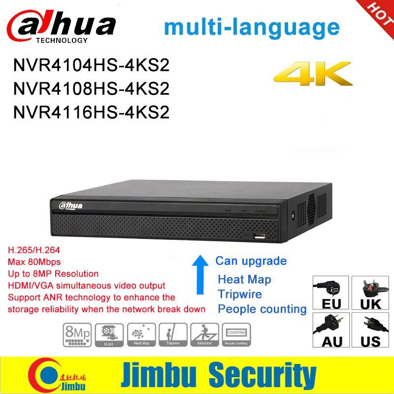 Dahua nvr 4 k multi-languag gravador de vídeo em rede NVR4104HS-4KS2 NVR4108HS-4KS2 NVR4116HS-4KS2 4ch 8ch 16ch 1u 4 k & h.265/h.264