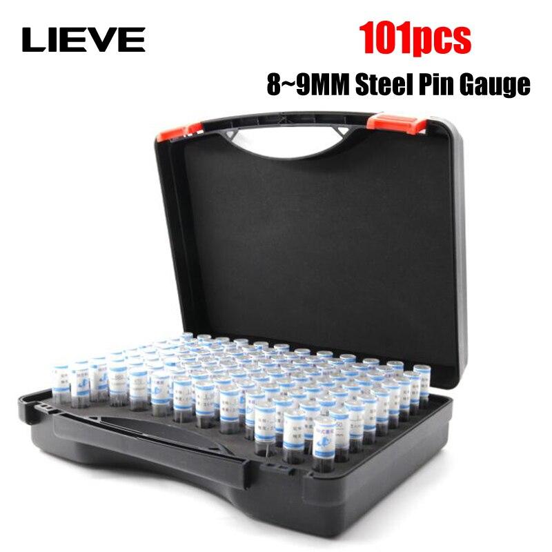 고품질 8-9mm 단계 0.01mm 강철 핀 게이지 바늘 게이지 핀 플러그 측정 도구, 101 개/몫