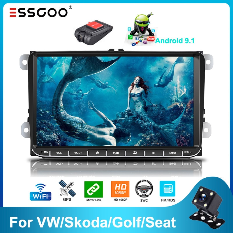 Essgoo 2din Android 9.1 Car Radio Bluetooth 9'' 2GB/1GB RDS AM DAB Autoradio GPS Navigation WIFI Multimedia Player For VW/Skoda