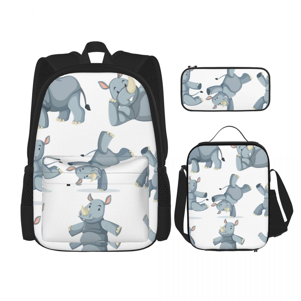 3 قطعة/المجموعة/مجموعة حقائب ظهر شخصية كرتونية وحيد القرن حقائب مدرسية للأولاد والبنات الطلاب حقيبة سفر عادية Mochila