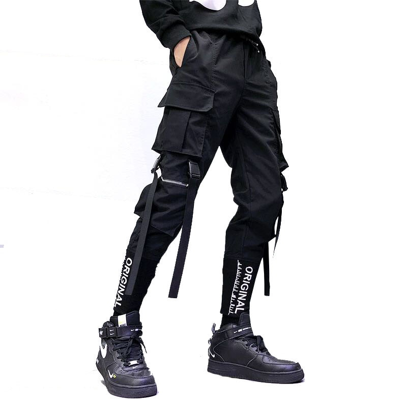 Hip Hop Men Ribbons Cargo Pants Fashion Harajuku 2020 New Elastic Waist Casual Streetwear Mens Joggers Trousers Black