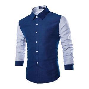 2021 New Polka Dot Printing Men's Color-Blocking Long-Sleeved Shirt