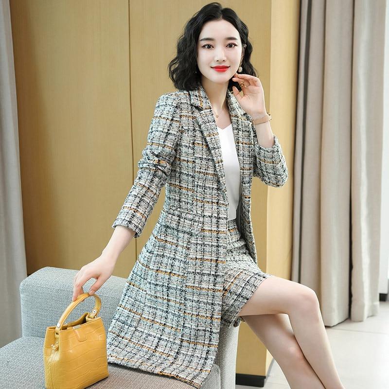 بدلة على الموضة الإناث الخريف تويد المشاهير السيدات مروحة منتصف طول منقوشة خندق معطف تنورة المهنية قطعتين دعوى للنساء