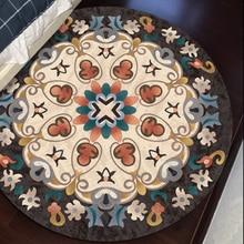Round shaped Mandala culture decorative printed rug  ,big size Kilim pattern no hair floor mat,