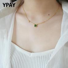 Collar de cadena con abalorio YPAY, joyería fina de circón verde esmeralda, collares con colgante de plata de ley 925 auténtica 100% para mujer ywn089