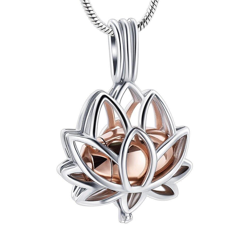 IJD20001 joyería de cremación para cenizas de acero inoxidable flor de loto recuerdo medallón collar de retención de Mini monumento de oro