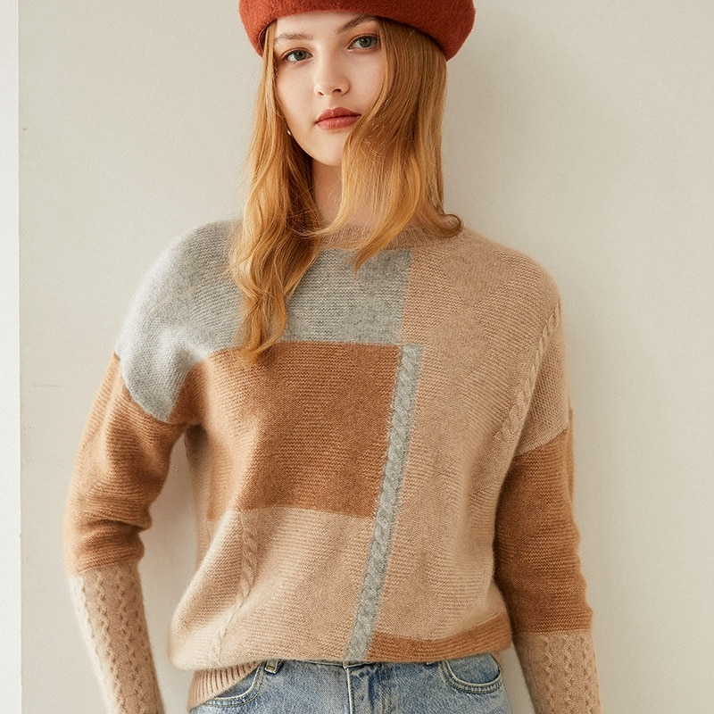 Tailor Shop Custom Made Half-high Round Neck Cashmere Women's Sweater with Check Cashmere Knitted Bottoming Shirt enlarge