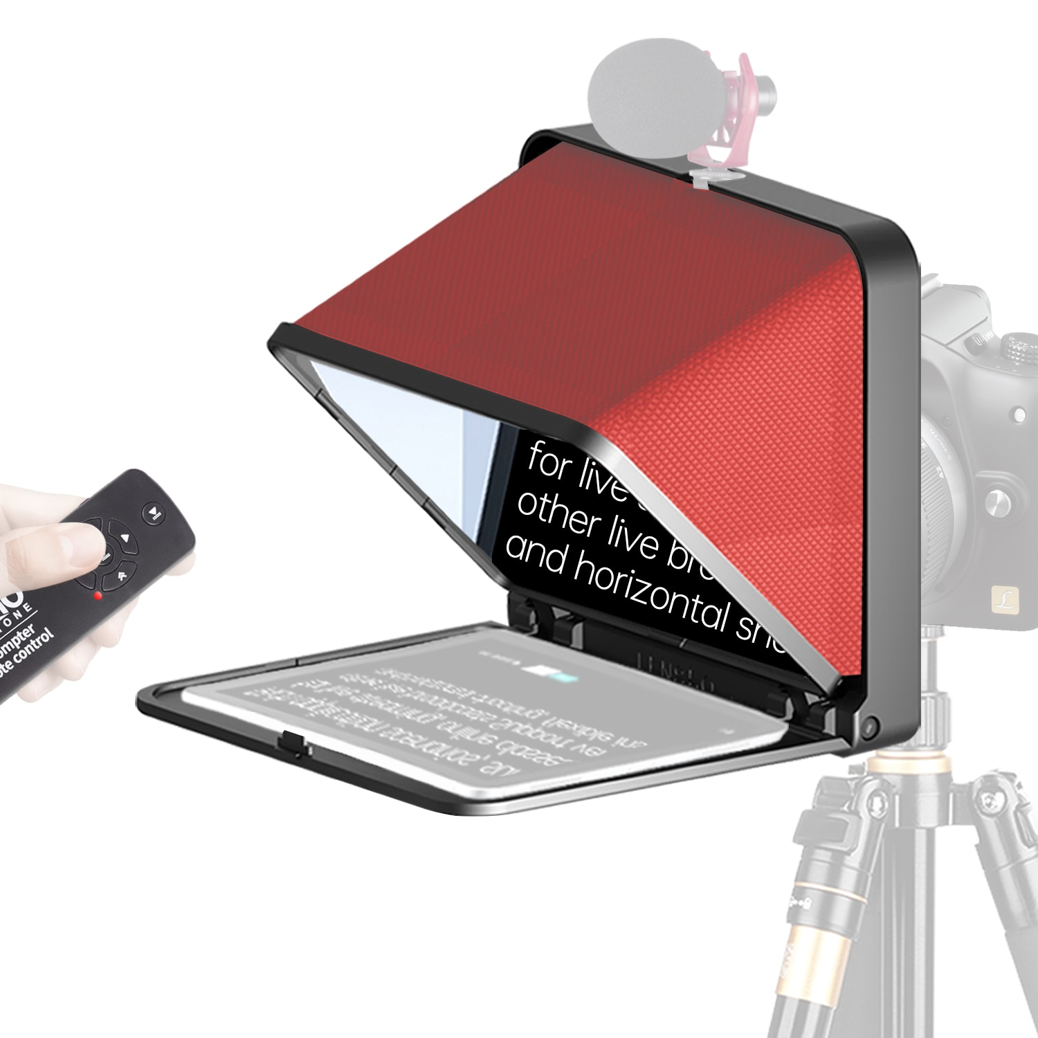 """【LENSGO Official】 8"""" Teleprompter for iPad Tablet Smartphone DSLR Camera w/Remote Control ,Compatible with iOS & Android System enlarge"""
