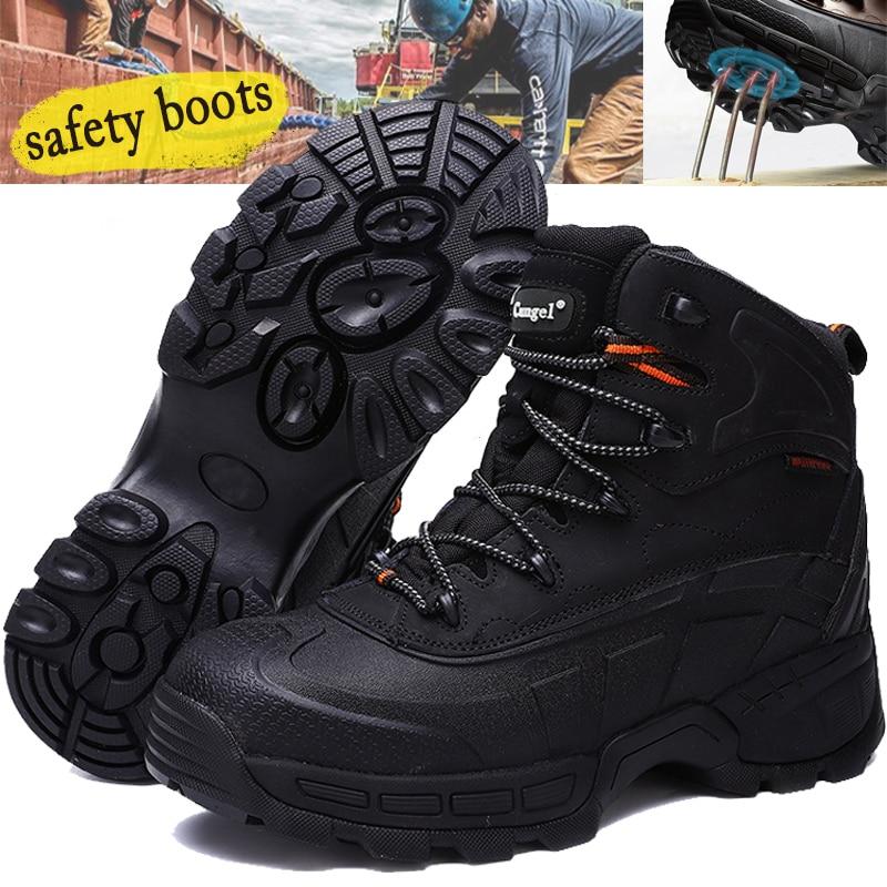 الرجل أحذية السلامة الصلب اصبع القدم المشي أحذية الرجال للماء العمل حماية الأحذية المضادة للتصادم الصيد الأحذية مع الصاج