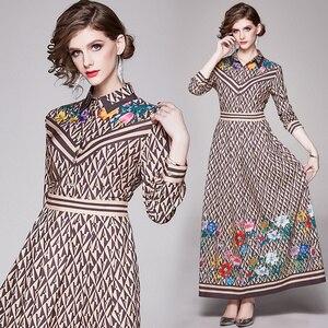 England Style Elegant Office Party Maxi Dress Women Fashion Swing Long Sleeve Shirt Dress Vintage Design Print Harajuku Sundress