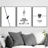 nordic modern minimalist black and white architecture bird art canvas poster wall printing home interior decoration picture