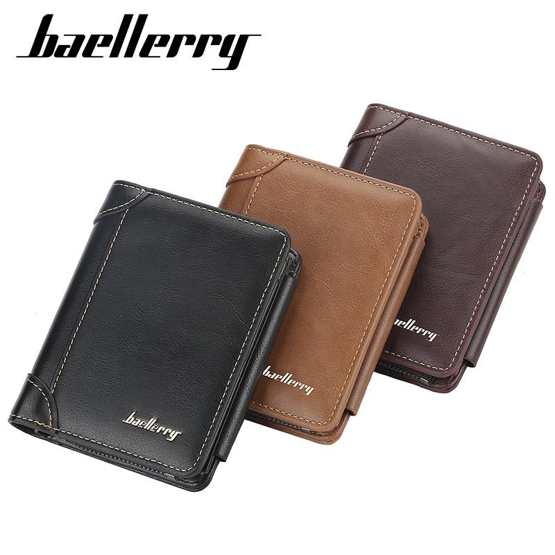 2020 New Leather Men Wallets High Quality Zipper Short Desigh Card Holder Male Purse Vintage Coin Holder Men Wallets