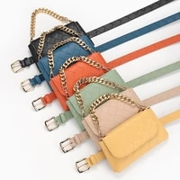 2021 new weave pattern casual decoration chain waist bag belt lady candy color retro pin buckle belt female trend designer