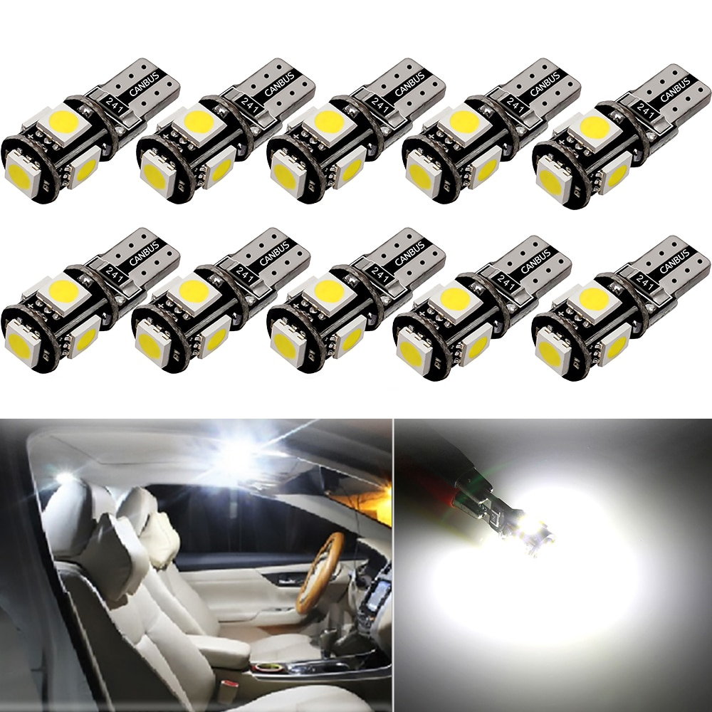 10 x W5W T10 bombilla LED para luz de techo Interior de coche para Toyota C-HR CHR RAV4 Camry Corolla 2016 2017 2018 accesorios lámpara de compartimiento