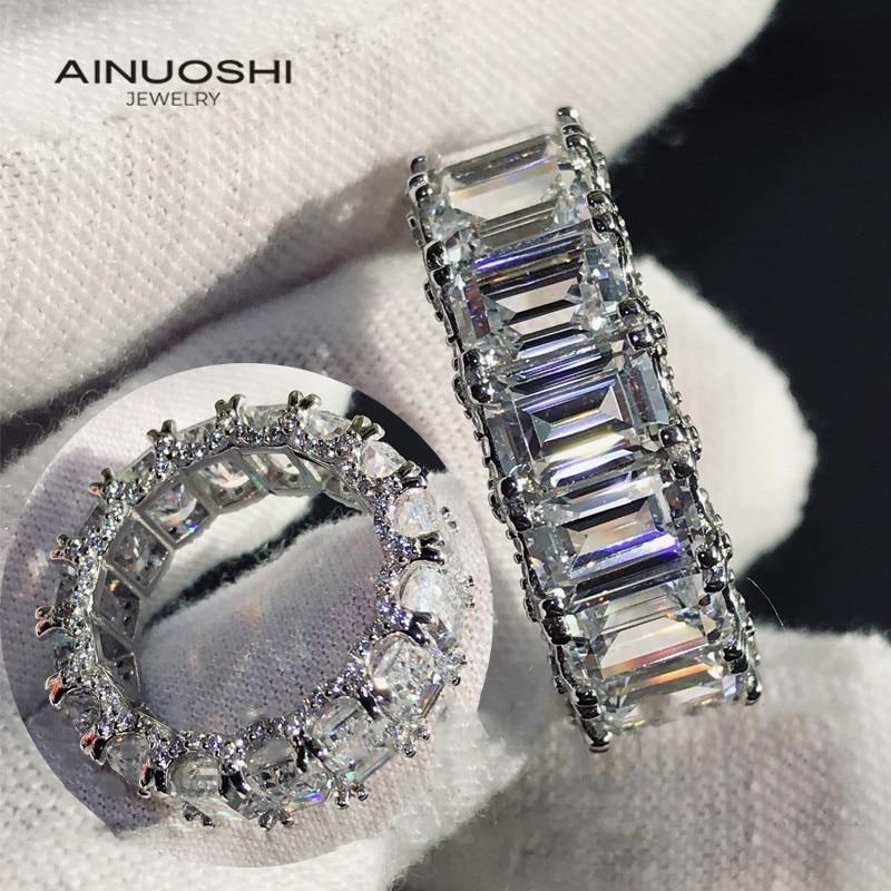 AINUOSHI-خواتم الخلود للنساء ، قطع الزمرد ، 6x4 مللي متر ، محاكاة ، الماس ، الخطوبة ، 925 الفضة الاسترليني ، خواتم خمر