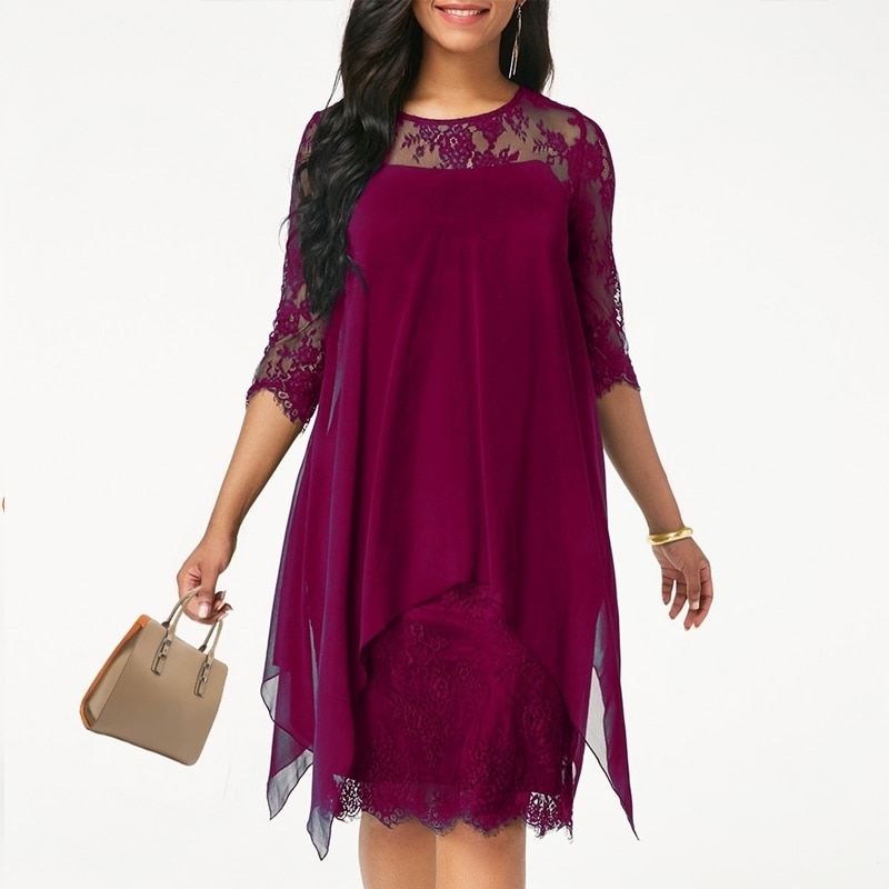 2020 Women lace dress Casual Loose Half Sleeve Elegant dress Round Neck Solid Color Big Size Lace dress 15 colors 2XS-5XL