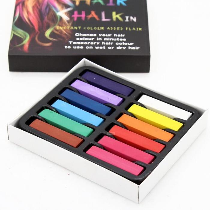 12pcs hair color chalk colorful temporary crayon DIY coloring hair dye pastels kit styling tools