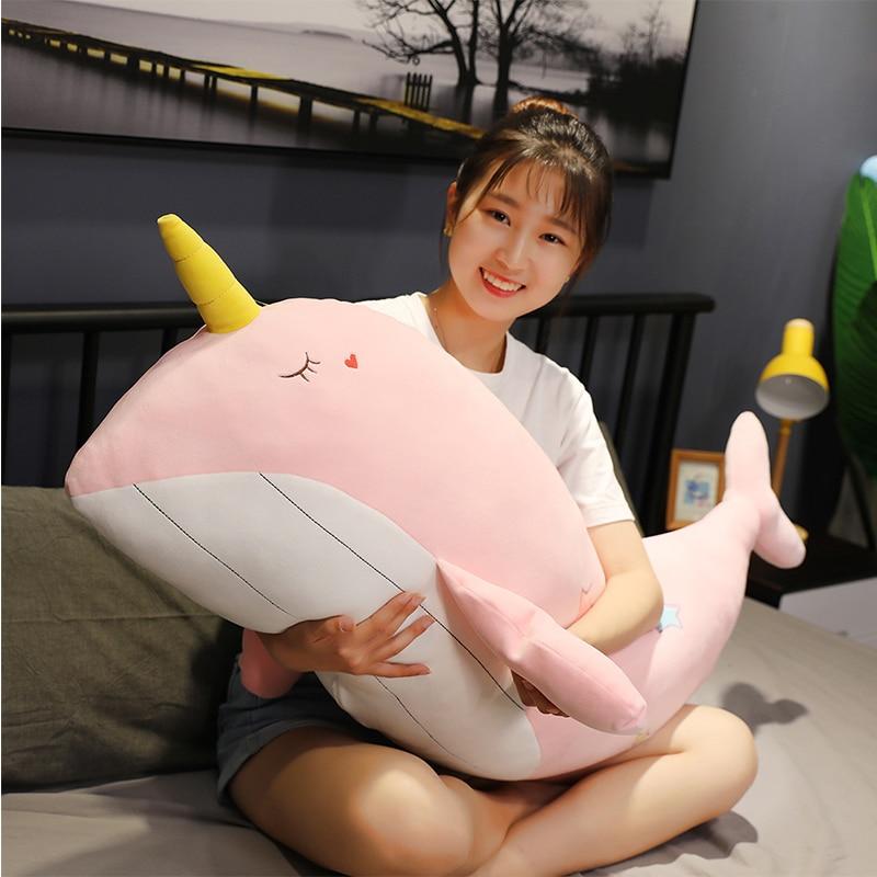 New 90cm Lovely Stuffed Fish Doll Whale Pillow Kids Toys Christmas Birthday Gift Toys For Children Girlfriend