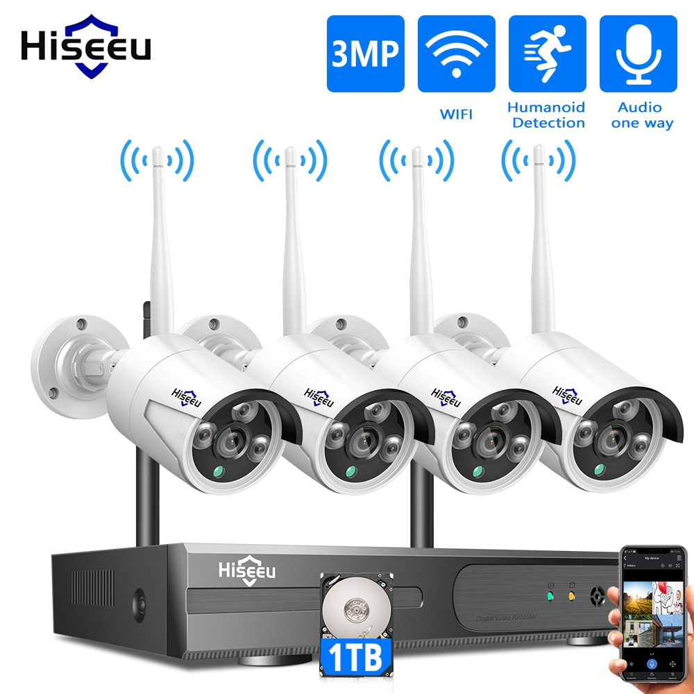 Hiseeu 8CH اللاسلكية نظام الدائرة التلفزيونية المغلقة 1536P 1080P NVR واي فاي في الهواء الطلق 3MP AI IP كاميرا نظام الأمن فيديو مراقبة شاشات كريستال بلورية ...