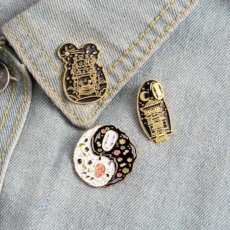 Pines de esmalte de película de dibujos animados, broches de Anime japoneses de moda, bolsa, camisa, botón de Taichi, insignia, regalo de joyería para niños, amigos, Fans
