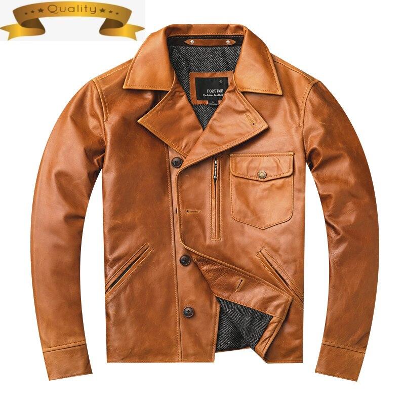 حقيقي دراجة نارية سترة جلدية الرجال 100% جلد الغنم معطف Vintage الرجال سترات من الجلد الحقيقي Veste Homme 1124 KJ4936
