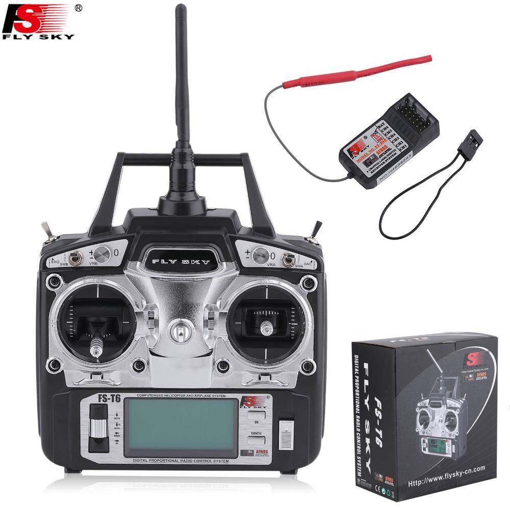 Flysky FS-T6 6ch 2,4g LCD pantalla RC transmisor remoto con FS R6B receptor para RC Quadcopter helicópteros
