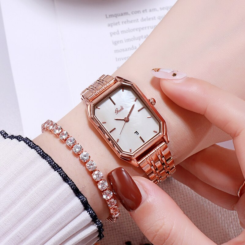 Classic Rose Gold Watch Women's Watches Luxury Brand Waterproof Calendar Small Ladies Watch Casual D