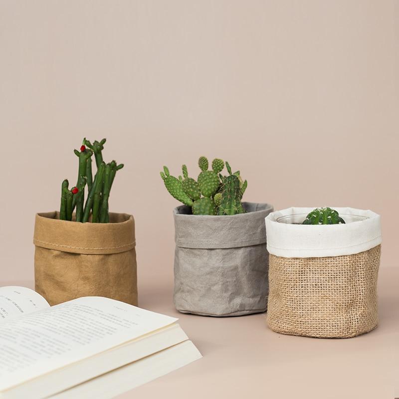 Veshje letre Kraft për tenxhere me lule, çantë krijuese krijuese për zyre, çantë për ruajtjen e kozmetikës, pajisje për dekorimin e shtëpisë